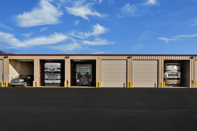 Storage building front view a class rv boat storage for Rv boat storage buildings